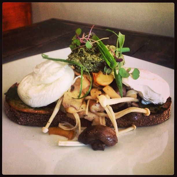 ... ricotta & spinach coulis, tomato pesto and poached eggs #mushroommania