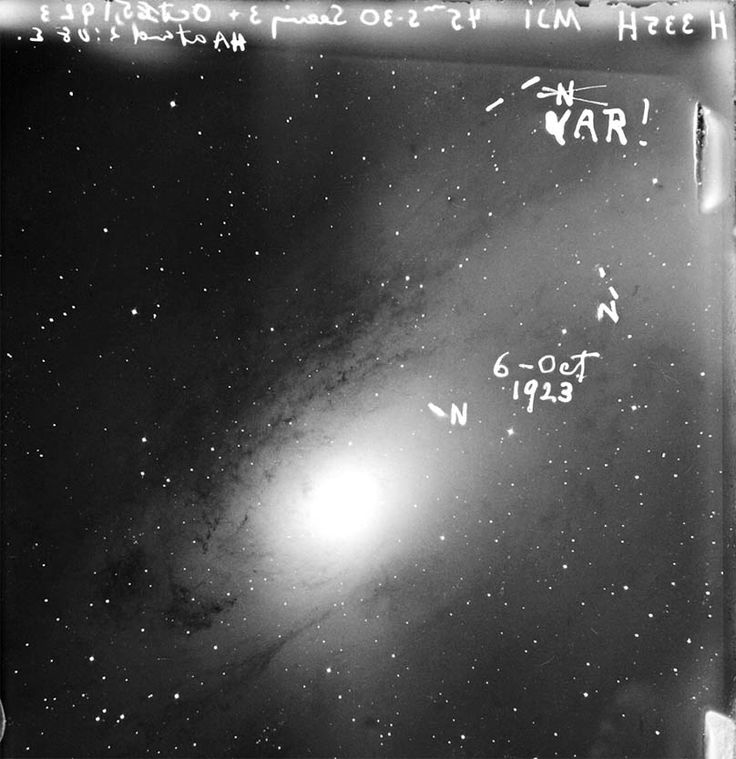 A copy of Edwin Hubble's 4-by-5-inch glass plate of M31, which he took with the 100-inch telescope on Mount Wilson. He marked three stars N, thinking they were novae — but later realized that one was a Cepheid variable.  (Credit: NASA / ESA / Hubble Heritage Team)