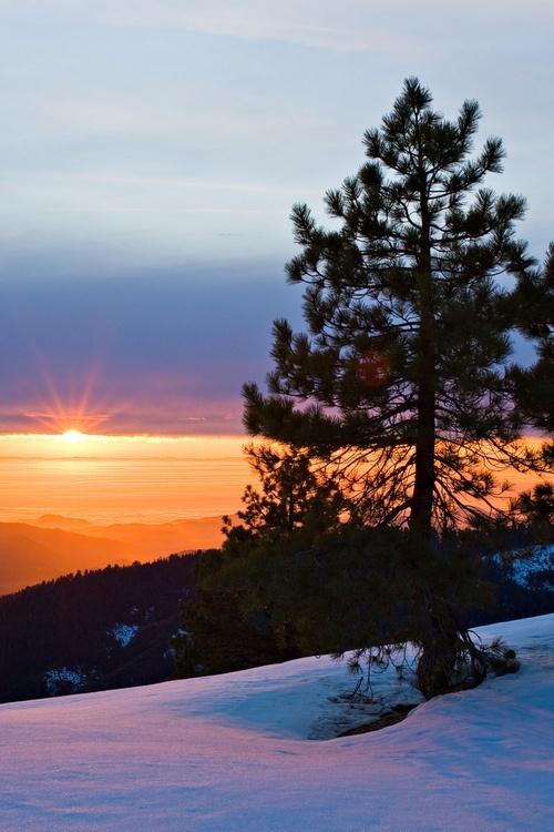 Snowy Mountain Sunrise   Scenic outdoors   Pinterest