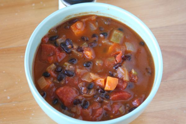 Black Bean and Sweet Potato Soup. I made this and it was awesome!