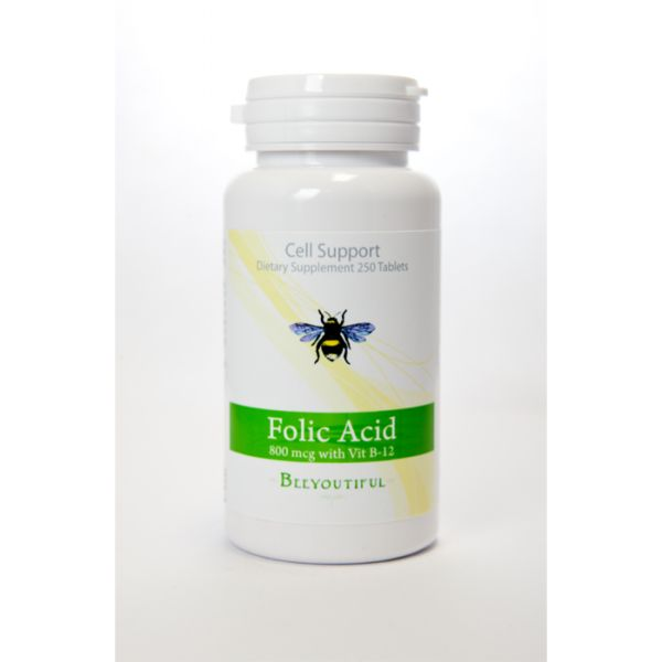 Beeyoutiful Folic Acid ~ Regular price $7.00 ~ Sale price $5.60 ~ Beeyoutiful's Folic Acid is a state-of-the-art blend that includes 25 mcg of Vitamin B-12 for synergistic effect and quick absorption.  When used in combination with vitamin B-12, folic acid may help facilitate the production of cellular energy.  Folic Acid is important during pregnancy, especially in the first few weeks of development.