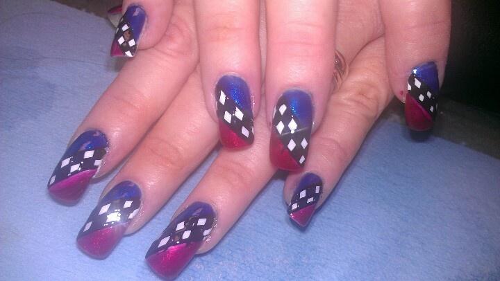 stunning nascar nail designs along inspiration article - Nascar Nail Art – Ledufa.com