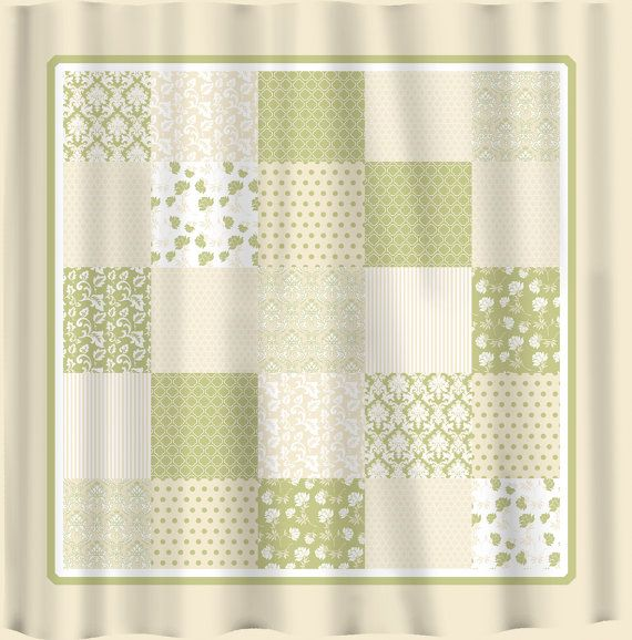French country patchwork shower curtain sage green by redbeauty 78