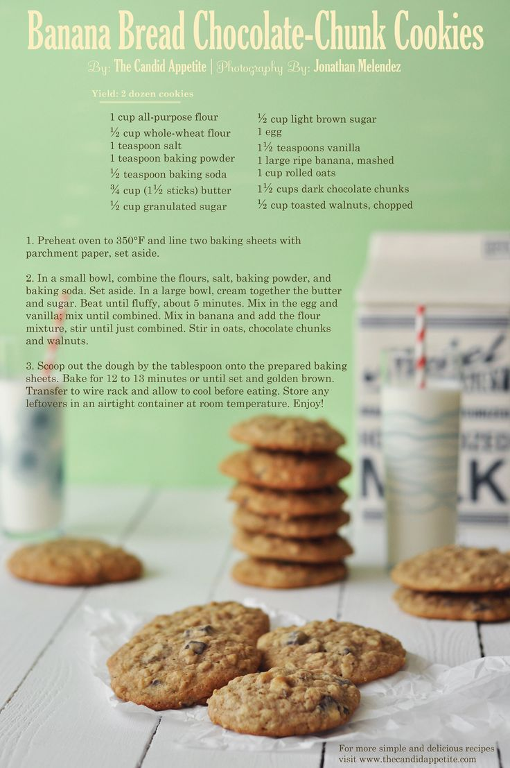 Banana Bread Chocolate-Chunk Cookies | Yummy Suff | Pinterest