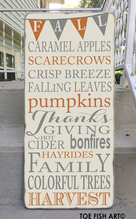 Autumn Fall Harvest Typography With Bunting Word Art Sign on Wood Dis ...