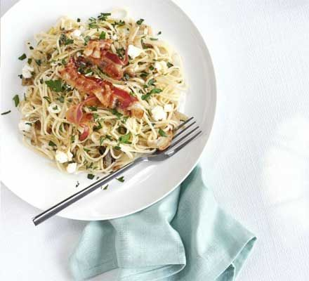 Goat's cheese & garlic linguine with crisp pancetta | BBC Good Food