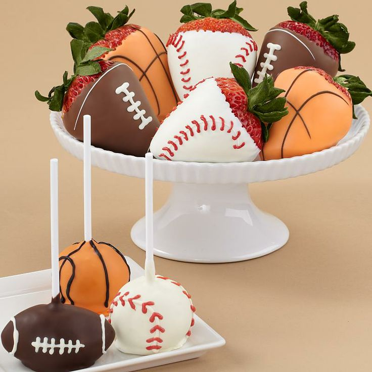 Sports dipped strawberries | Trish's sports baby shower brunch | Pint ...