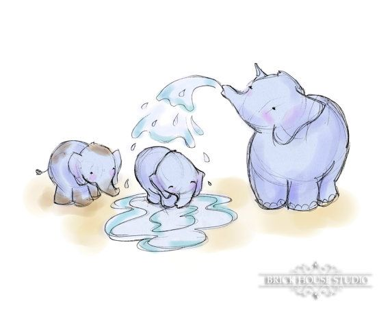nursery art elephant bath time 8x10 illustration. Black Bedroom Furniture Sets. Home Design Ideas