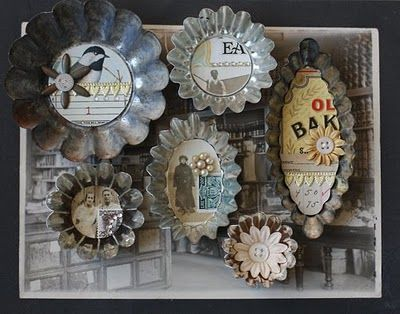 collages in vintage baking tins by Jenni Bowlin. She always does such cute stuff.