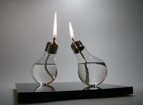 classy, old light bulbs into oil lamps.