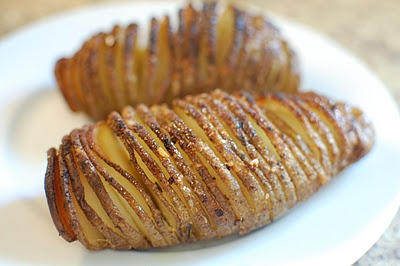 Hasselback Potatoes.  Mmm.  So easy.  Might try with sweet potatoes next.