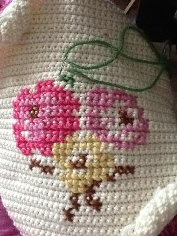 cross stitch on crochet PONTO CRUZ Pinterest