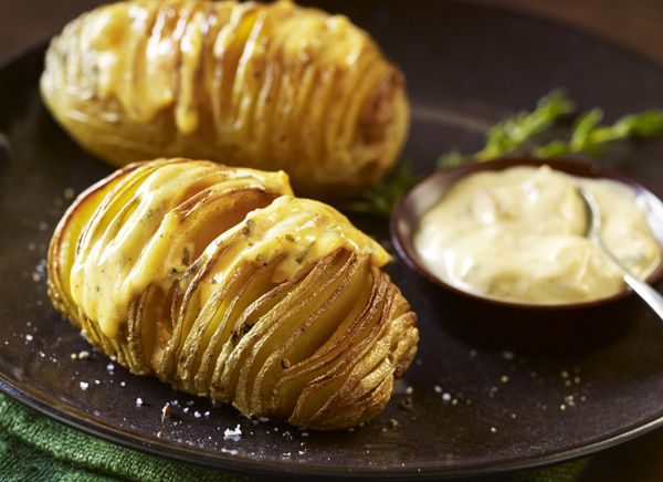 Aged Cheddar & Chipotle Hasselback Potato. Recipe at http://www ...