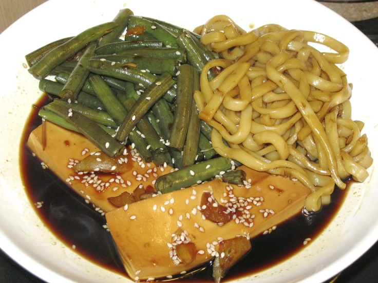Tofu poached in ginger with thick noodles and green beans ... oh, so ...
