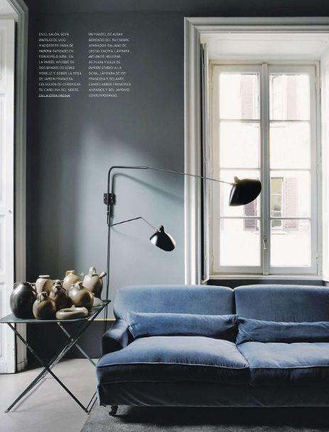 Blue Grey Walls W Serge Mouille Lighting Via MFAMB