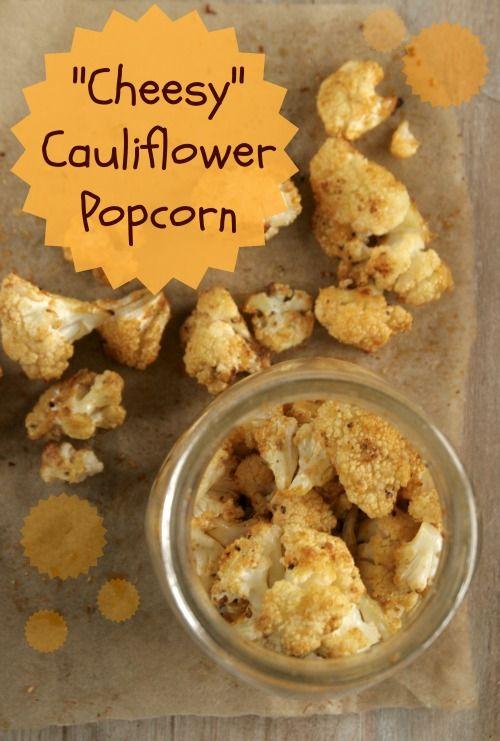 Cheesy Cauliflower Popcorn on www.BalancedPlatter.com - awesome way to ...
