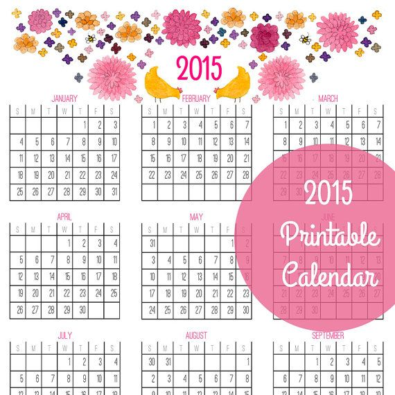 """Printable 2015 year-at-glance calendar for """"don't break the chain ..."""