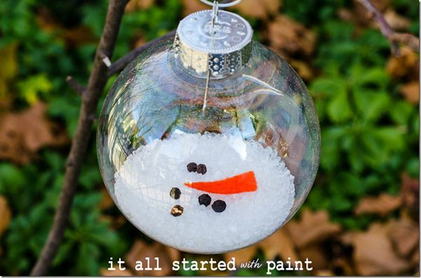 melted snowman in clear glass ornament