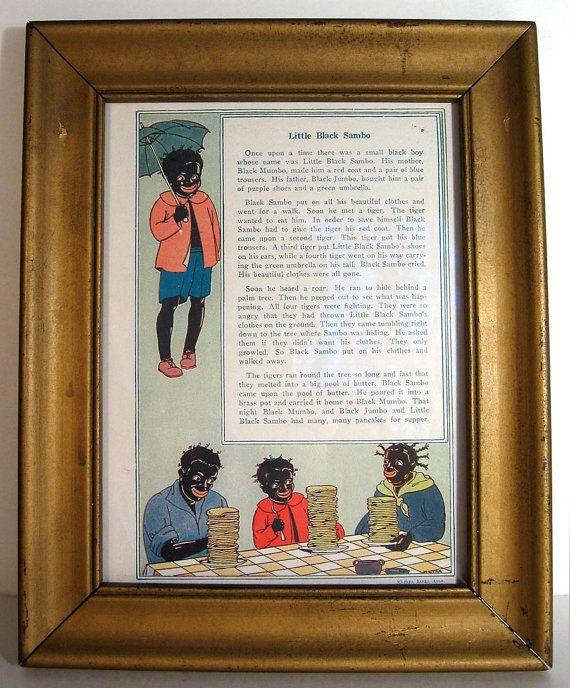 Little Black Sambo Framed Illustration Vintage Story - 32.00