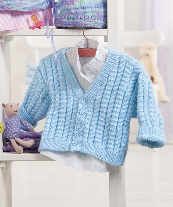Baby will stay warm and snug all day long in this cabled cardigan. This cardigan makes a wonderful lightweight jacket or warm sweater for baby. Machine washable and oh-so-soft, the yarn comes in a wonderful array of colors and is shown off to best advantage in a delicate cable pattern. Instructions.
