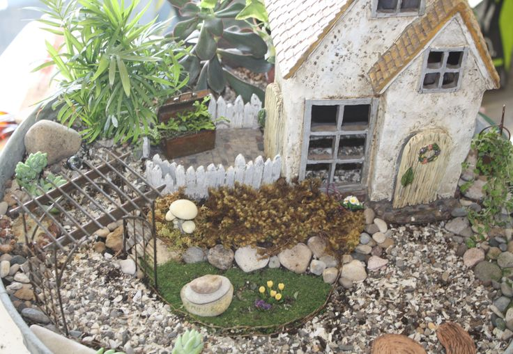 fairy garden in an old metal wash tub with products from fairygarden ...