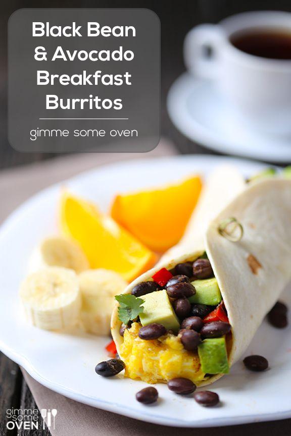 Black Bean and Avocado Breakfast Burritos. This looks amazing! # ...