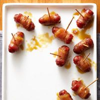 My sister made these, so good! Sugared Bacon-Wrapped Smokies