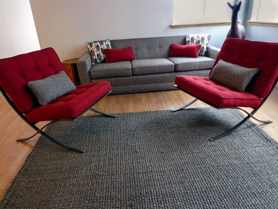 Barcelona style chair with red fabric and natural patina on metal, Ha ...