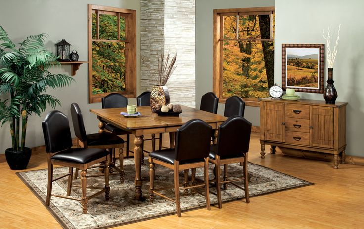 pc oakdale ii country style driftwood finish counter height dining