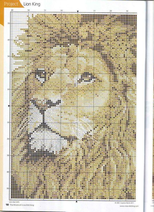 Вышивка крестом львов схемы 7