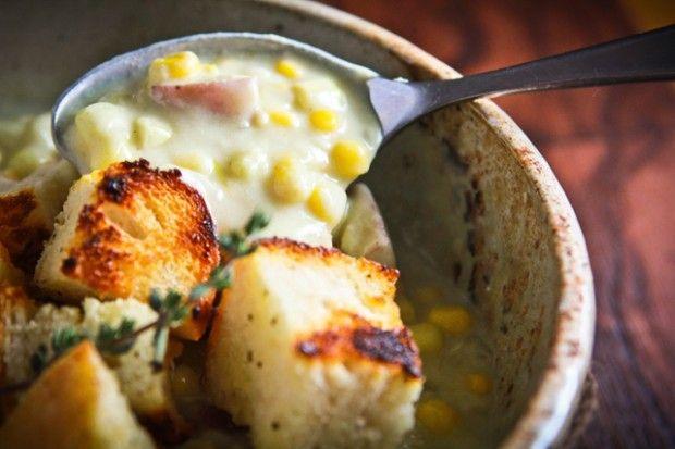 Creamy Corn Chowder. With potatoes. And vegan power.