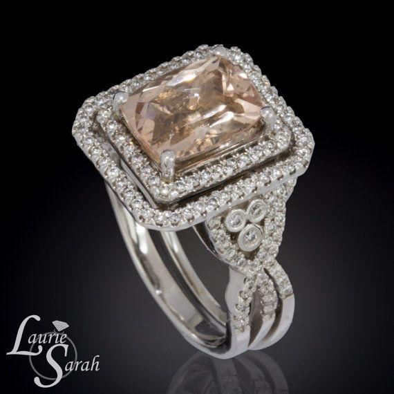 3 carat Cushion Cut Morganite Engagement Ring Wedding Set with Diamon…