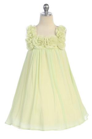 wholesale mint chiffon flower girl dress