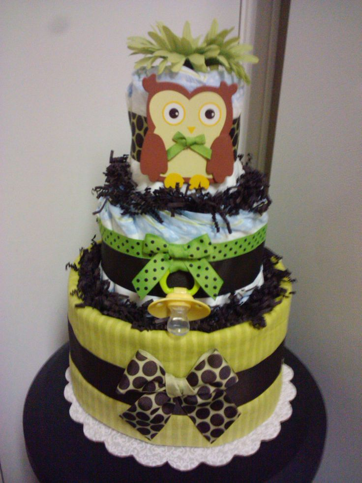 Owl 3 tier diaper cake forest theme baby shower for Baby diaper cake decoration