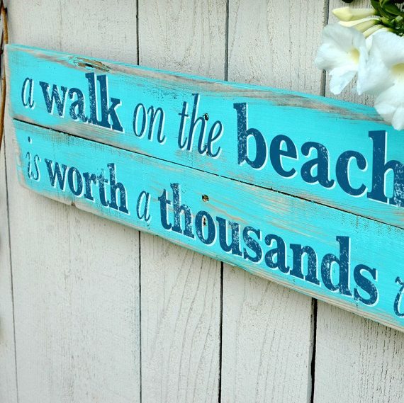 Beach home decor sign with starfish wall art hand crafted for Home decor signs