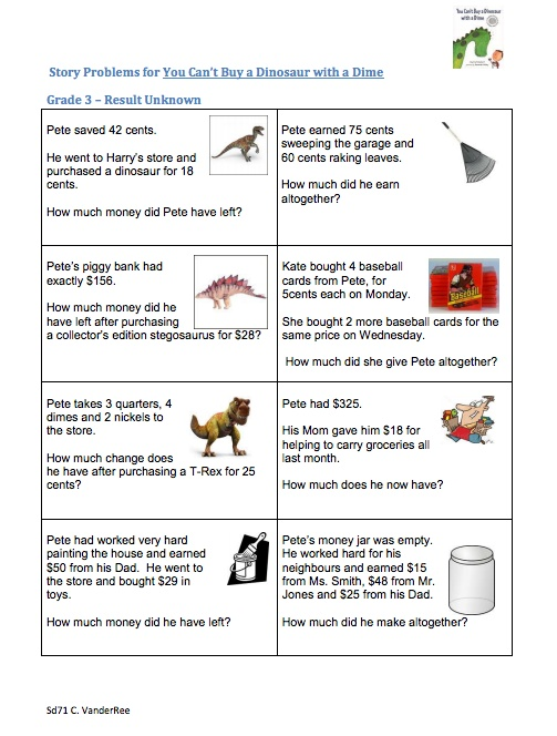 Here's a set of story problems to go along with the book YOU CAN'T BUY
