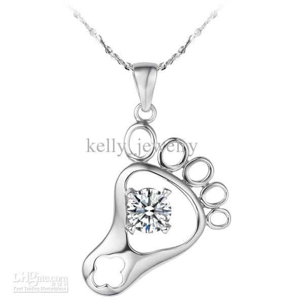 Buy cheap 925 Sterling Silver Little Foot Pendant with Swarovuski Crystal WHITE/PURPLE with $2.94-3.42/Piece|DHgate