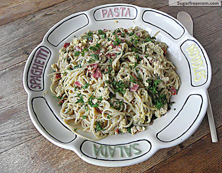 Lightened Up Spaghetti alla Carbonara with Chicken | SugarFreeMom.com ...