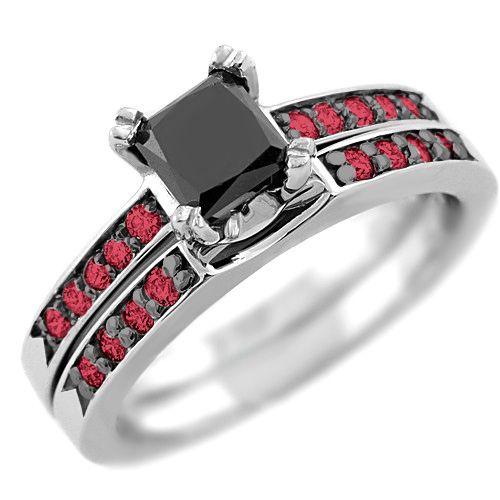1 37ct Princess Cut Black Diamond & Red Ruby Engagement Ring Set