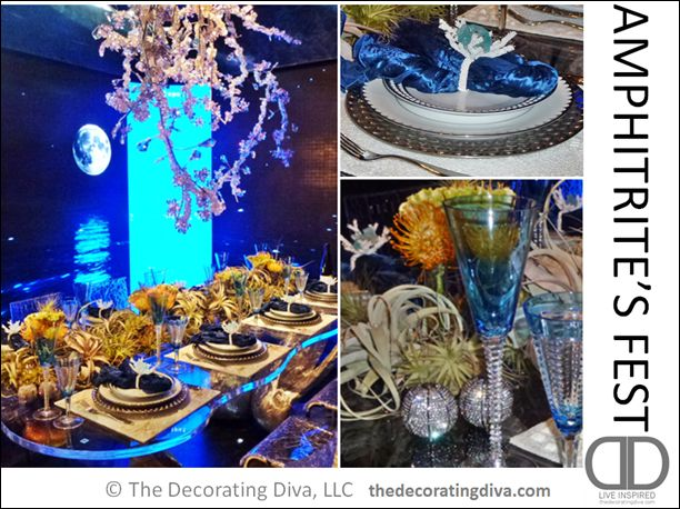 Amphitrite's Fest Table Setting | TheDecoratingDiva.com   Tablescape befitting a Sea Goddess. (table top decorating ideas)