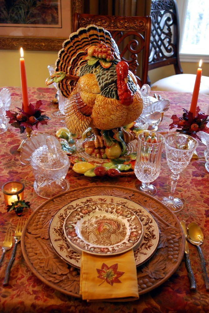 Thanksgiving tablescape---I want this Turkey Tureen. He is gorgeous