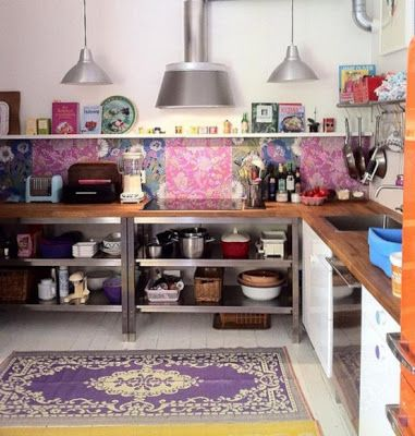 bohemian kitchen - love the purple rug
