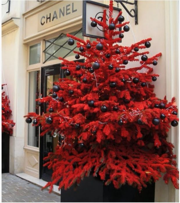 At chanel red flocked tree black ornaments christmas holiday