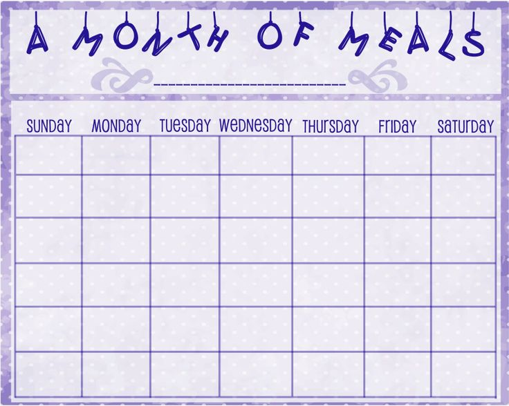 Monthly Meal Planner | Family Recipes | Pinterest