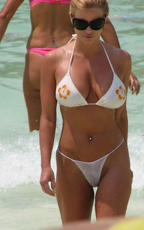 Want her bikini see thru wet