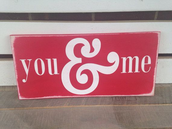 You and me large ampersand painted wood sign red valentines decor wedding gift home decor sweetheart gift  on Etsy, $25.00