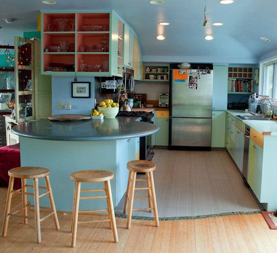Galley Kitchen With Half Wall: Kitchen Tour: Penny's Mermaid-Hued Kitchen With A View