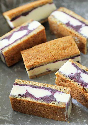 Frozen yogurt and blueberry bar