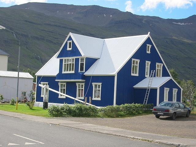 blue house white trim house pinterest