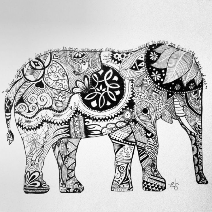 Elephant Drawing Outline Abstract Elephant Head Drawing